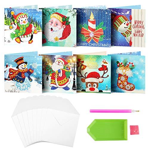 Cieovo 8 Packungen 5D DIY Diamant Gemälde Grußkarte Urlaub Karte Diamant Gemälde Rund Bohrer Grußkarten inkl. Nikolaus, Schneemann, Weihnachtssockenkarten, 8 Stück Umschläge A-color