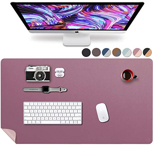 Leather Desk Pad 36' x 20', Vine Creations Office Desk Mat Waterproof Purple/Pink, Premium Pu Leather Large Mouse Pad and Writing Surface, Top of Desks Protector, Wide Dual-Sided Blotter Decor