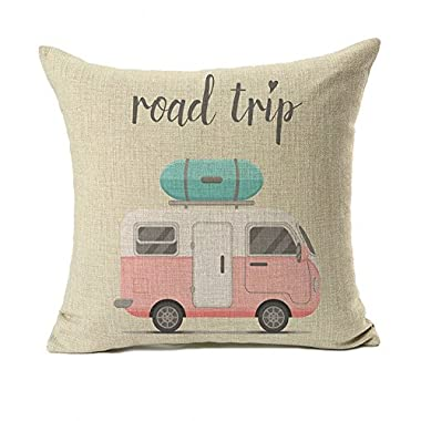 4TH Emotion Happy Camper Pillow Cover Retro Rv Decorative Throw Cushion Case 18 x 18 Inch Cotton Linen(Road Trip)