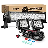 Nilight - ZH005 22Inch 120W Spot Flood Combo Led Light Bar 2PCS 4Inch 18W Spot LED Pods Fog Lights with 16AWG Wiring Harness Kit-2 Leads,2 Years Warranty