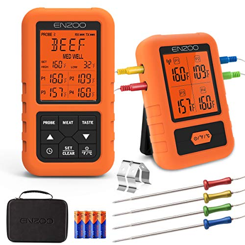 ENZOO Wireless Meat Thermometer for Grilling Ultra Accurate amp Fast Digital Meat Thermometer for Smoking with 4 Probes 500FT 178° WideView Meat Thermometer for Smoker BBQ Carring Case Included