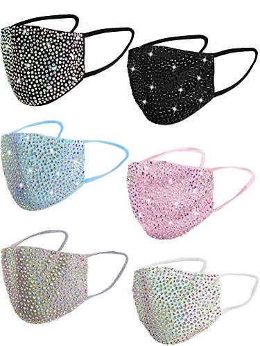 MEMORE 6 Pieces Fashion Rhinestone Mask Crystal Face Mask Masquerade Mask for Women with Adjustable Ear Loops (6 Colors), Black,gray,blue,pink, Large