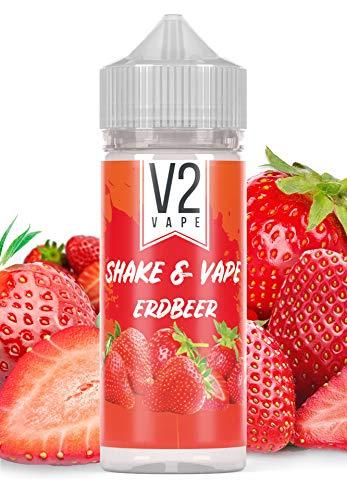 V2 Vape Erdbeer Shake and Vape hochdosiertes Premium Aroma-Konzentrat zum selber mischen mit Base. Zum direkt dampfen, ohne Reifezeit 20ml 0mg nikotinfrei