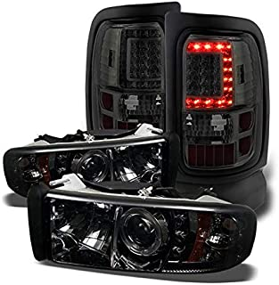 Xtune for 1994-2001 Dodge Ram 1500, 1994-2002 Ram 2500/3500 Smoked Halo Projector Headlights + Ver2 LED Tail Lights 1998 1999