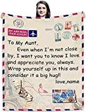 InterestPrint Personalized Long Distance Blanket, Flannel Throw Blanket for Aunt, Custom Any Relationship or Name, Ultra-Soft Blanket for Couch Sofa Bedroom Home Decor, 30x40-60x80 Inch