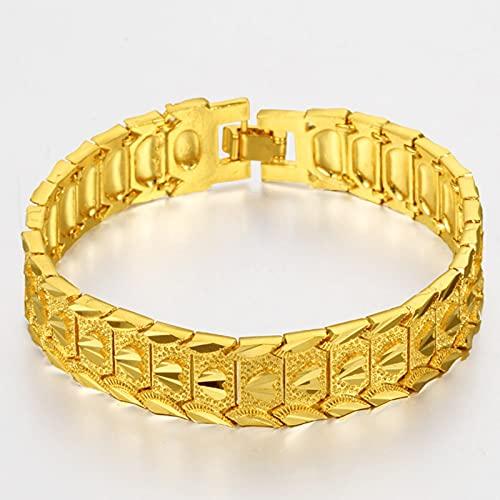 ZKK Hermoso y Noble Joyería de Oro de la Arena, Pulsera de 24k, Relojes para Hombres y Mujeres con Hebilla Pulsera chapada en Oro para latón Pareja de Oro Plateado Pulsera (Estilo uno) Dar un Regalo