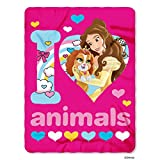 Disney's Princesses Palace Pets, 'I Love Animals' Fleece Throw Blanket, 45' x 60', Multi Color