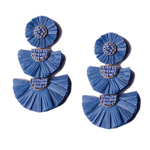 L&N Rainbery Bohemian Handmade Drop Earrings Fashion Beaded Raffia Palm Earrings for Women Tiered Dangle Statement Earrings (Blue)