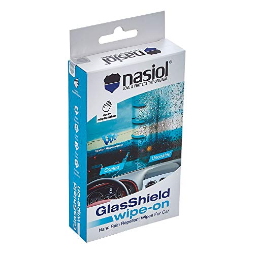 Nasiol GlasShield Wipe-On Nano Rain Repellent Wipes for Windshield, Water Repellent, Easy Application, Powerful Effect, Antistain Wipes, for Automobile Windshield and Helmet, Visor, Glasses