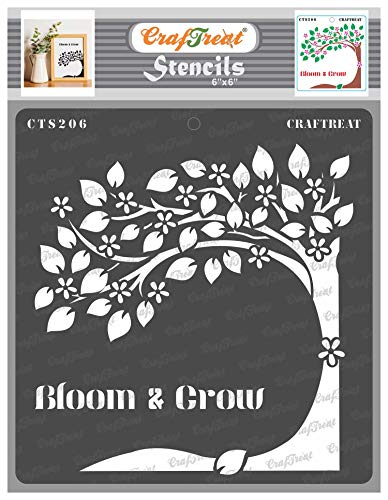 CrafTreat Stencil - Bloom and Grow | Reusable Painting Template for Journal, Home Decor, Crafting, DIY Albums, Scrapbook and Printing on Paper, Floor, Wall, Tile, Fabric, Wood 6'X6'
