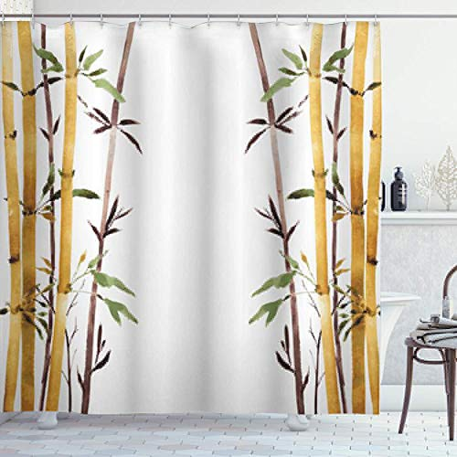 NR Duschvorhang,Bamboo Grove Beruhigen Sie Ihren Geist Entschleunigen Entspannen Sie handgezeichnete Art Grafik,Hochwertige Qualität,180x180cm Wasserdicht mit Haken für Badezimmer