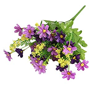 balloonbobo 28-Head Chrysanthemum Artificial Flower Bouquet Fake Plant Wediing Party Props Decor DIY Home Decoration Purple