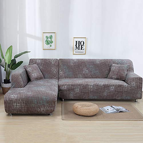 ele ELEOPTION Stretch Sofa Covers, L Shape Sofa Slipcovers Sofa Protectors 2pcs Polyester Fabric Stretch Slipcovers+ 2 Pillow Covers Soft Slip-Resistant for Modern L Shape Sectional Sofa Couch, Coffee