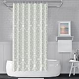 Haoyiyi 183 x 183 cm abstrakter Duschvorhang, hellgrünes Blumenmuster, geometrisches Muster, wasserdicht, Duschvorhang-Set mit Loch für Zimmer, Hotel, Badezimmer, Duschraum, Badewanne