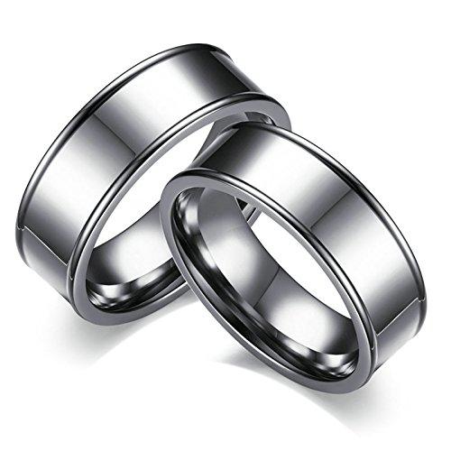Bishilin Mode 2 Pcs Edelstahl Herren Ring Edelstahlringe Hochglanzpoliert Rund Breite 7MM Silber Eherring Trauring Paareringe Größe 52 (16.6) & Größe 65 (20.7)