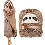 Sloth Wearable Hooded Blanket for Adults - Fluffy Super Soft Shaggy Faux Fur, Fuzzy Warm Cozy Plush Furry Fleece & Sherpa Hoodie Throw Cloak Wrap - Sloth Gifts for Women Adults and Kids