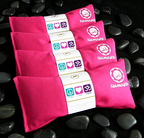 Happy Wraps Namaste Lavender Yoga Eye Pillows - Hot Cold Aromatherapy for Stress, Meditation, Spa, Relaxation Gifts - Set of 4 - Pink Cotton