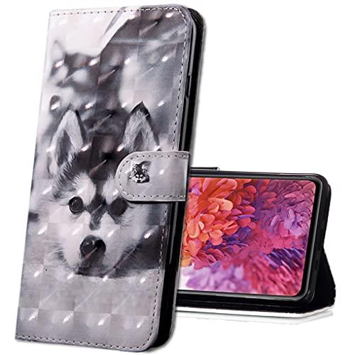MRSTER LG Q60 Handytasche, Leder Schutzhülle Brieftasche Hülle Flip Hülle 3D Muster Cover mit Kartenfach Magnet Tasche Handyhüllen für LG K50 / LG Q60. BX 3D - Husky