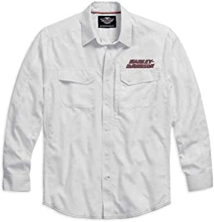 Long Sleeve Performance Button Front Shirt, White. 99016-15VM