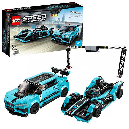 LEGO Speed Champions Formula E Panasonic Jaguar Racing GEN2 car & Jaguar I-PACE eTROPHY, Set con Auto da Corsa, 76898