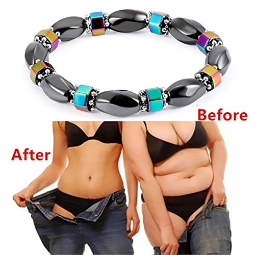 KaiKBax Magnetic Hematite Beaded Bracelet Anti-Fatigue Weight Loss Slimming Elastic Wristband Bracelets