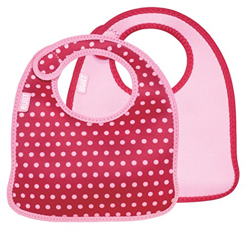 BUILT BBY-MMBB-BMD Mess-Mate - 2 slabbetjes voor kinderen, mini dots, baby roze