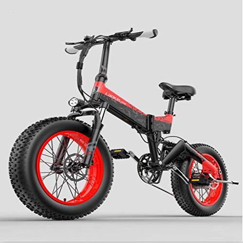 LANKELEISI X3000 1000w / 500W 48v 14ah 20 * 4.0 Fat Tire Bicicletta elettrica Mountain Bike Bicicletta pieghevole Bici da neve Bicicletta elettrica per adulti。 (rosso, 1000W)
