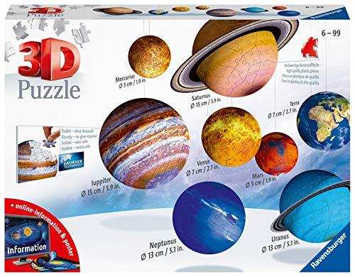 Ravensburger 11668 3D Puzzle Planetensystem für Kinder ab 7 Jahren - 8 Puzzleball-Planeten als Sonnensystem Modell mit Poster - Modellbau ganz ohne Kleben