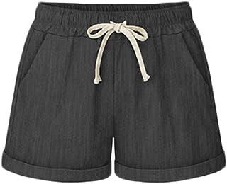 AvaCostume Women's Plus Size Summer Drawstring Elastic Waist Beach Casual Cotton Shorts