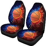 BONRI Fundas de asiento de coche Protector de asiento de coche, manta antideslizante para auto coche, camión, bassball Print 2pcs Set-Basketball