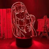 Luz De Ilusión 3D Luz De Noche Led Zero Two Figure Lámpara De Mesa Anime Waifu...