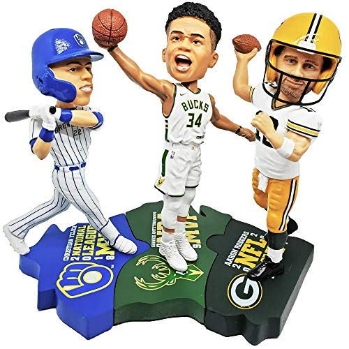 FOCO Giannis Antetokounmpo, Christian Yelich and Aaron Rodgers Wisconsin Triple MVP Bobblehead Puzzle Set - Milwaukee Bucks, Milwaukee Brewers, Green Bay Packers - Numbered to Only 1,500