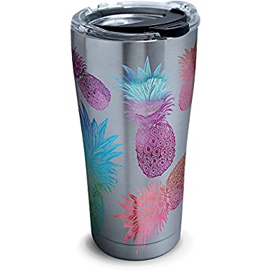 Tervis 1261357 Watercolor Pineapples Stainless Steel Tumbler with Clear and Black Hammer Lid 20oz, Silver