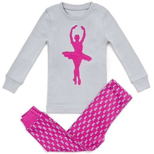 Super Soft Ballerina 2 Piece Pajama Set 100% Cotton +2 gifts, Pink/Grey, 12-18 Months