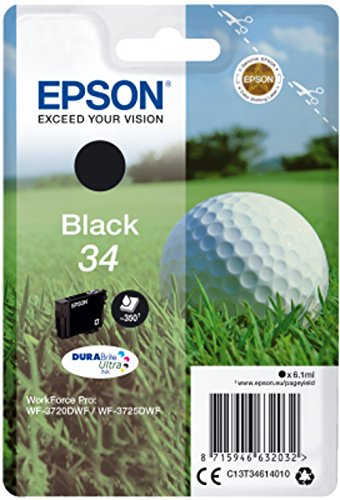 Epson 34 Serie Pallina da Golf, Cartuccia Originale Getto d'Inchiostro DURABrite Ultra, Formato Standard, Nero, con Amazon Dash Replenishment Ready
