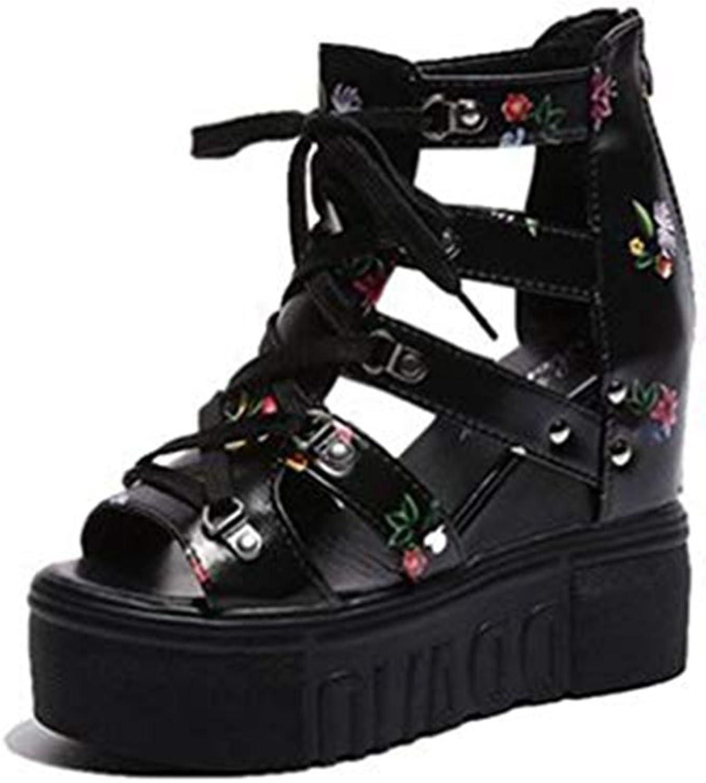 T-JULY Flowers Wedge Platform Cross Strap Sandals Gladiator for Women Peep Toe Caged Zipper Booties