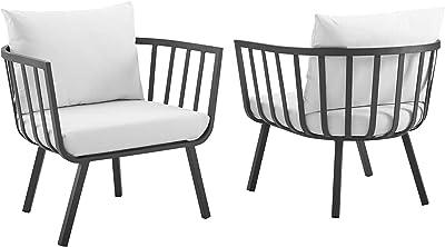 Modway EEI-3960-SLA-WHI Riverside Lounge & Deep Seating Sets, Two Armchairs, Gray White