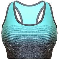 Libella Mujer Sujetador Deportivo Push Up Bustier con Amplio Correas Fitness Yoga Camisetas Sin Mangas 3738 Azul S/M