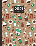 2021 Planner: Coffee Beans and Drinks - Tan Green Pattern / Daily Weekly Monthly / Dated 8.5x11 Life Organizer Notebook / 12 Month Calendar - Jan to ... Cover / Cute Christmas or New Years Gift