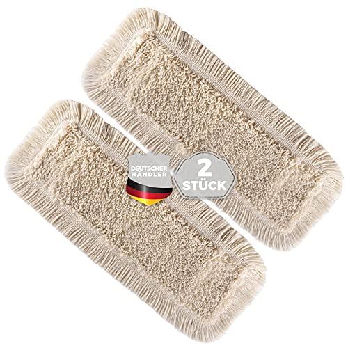 Thometzki Wischmopp-Bezug (2x, 40cm) - Bodenwischer-Wischbezug zur Echtholz Trocken- & Nass-Bodenpflege - Bodenwischer-Bezug für Parkett-Dielen, Laminat & Fliesen - Hochwertiger Wischer-Bezug Beige