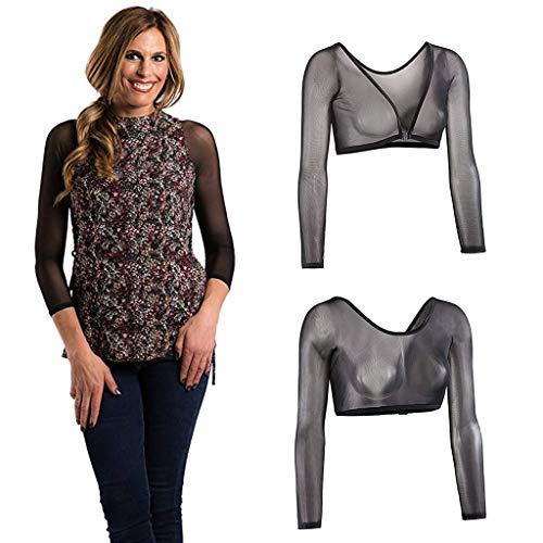 AmyGline Damen Shaper Unterwäsche Mesh in Unterwäsche Sieben Viertel Ärmel Seamless Arm Shaper Crop Top Shirt Blusen