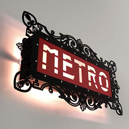 Applique murale Paris Metro - Noir et rouge - 46 cm x 25 cm