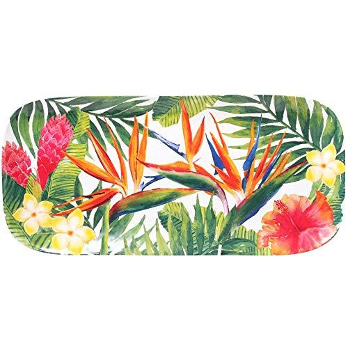 Les Jardins de la Comtesse - Plat Rond en Mélamine Pure - Contour Bambou - Fleurs Exotiques - 35,5 cm – Rouge/Vert - Plat de Présentation de la Collection de Vaisselle Quasi-Incassable MelARTmine