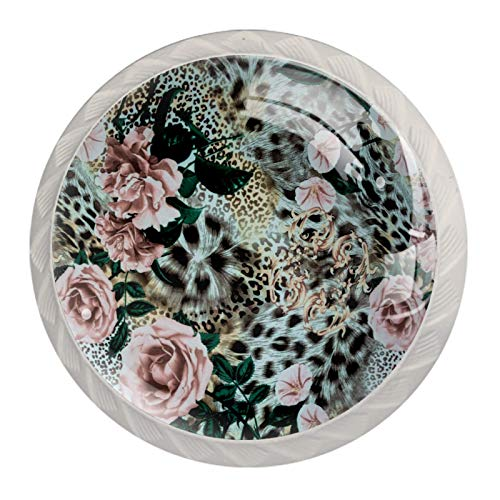 Schubladengriffe ziehen für Home Kitchen Dresser Wardrobe,Tiger Leopard Print Blumenrose