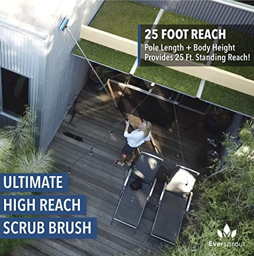 EVERSPROUT 7-to-19 Foot Scrub Brush (25+ Ft. Reach) | Long Lightweight Extension Handle | Soft Bristles wash Car, RV, Boat, Solar Panel, Floor, Deck | Rubber Bumper and Squeegee Prevents Scratches
