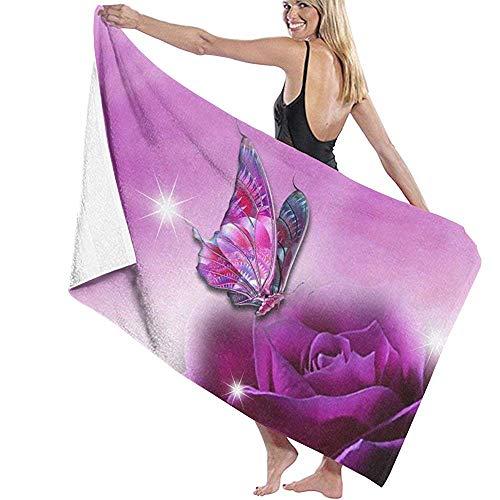 Not Applicable Nicht zutreffendes Badetuch, Schmetterlinge und Rosen, Premium-Damen-Badehandtücher für Reisen, Camping