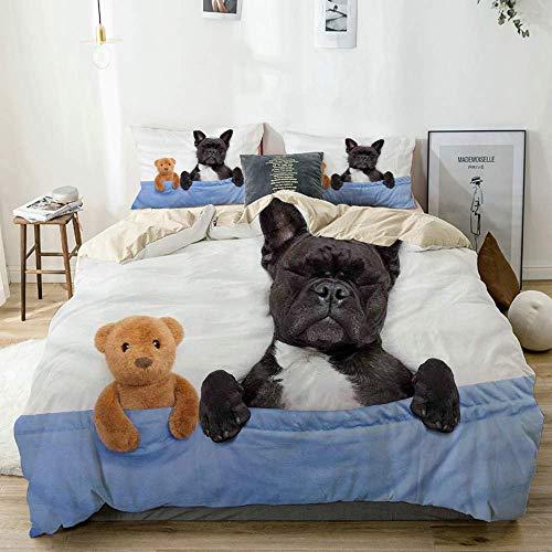 Juego de funda nórdica beige, Bulldog francés durmiendo con osito de peluche en una cama acogedora Best Friends Fun Dreams Image, Juego de cama decorativo de 3 piezas con 2 fundas de almohada Fácil cu