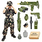 Army Costume for Boys Soldier Military Kit, CATTA Deluxe Camouflage Dress Up Halloween Role Play Set for Kids Aged 4-8