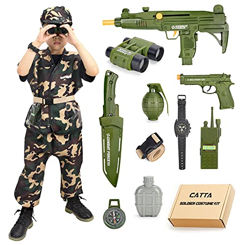 Army Costume for Boys Soldier Military Kit, CATTA Deluxe Camouflage Dress Up Halloween Role Play Set...