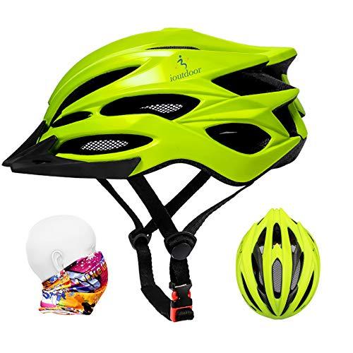 ioutdoor Casco da Bici Premium, Certificato CE CPSC, Casco da Bici con Visiera Solare Rimovibile e Rete per Insetti, Casco da Bici Regolabile Super Leggero per Sport All'aperto (Verde)